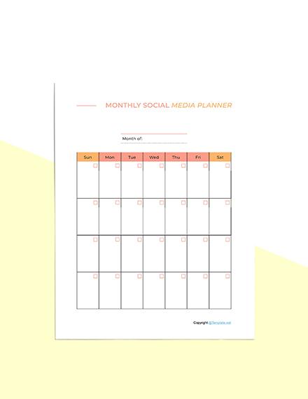 Sample Social Media Planner Template Sample