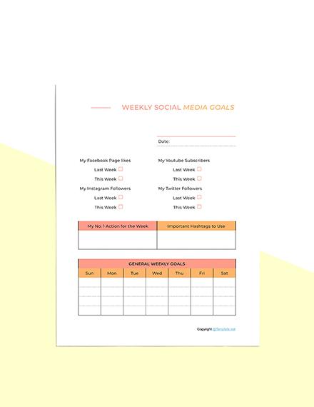 Sample Social Media Planner Template Download