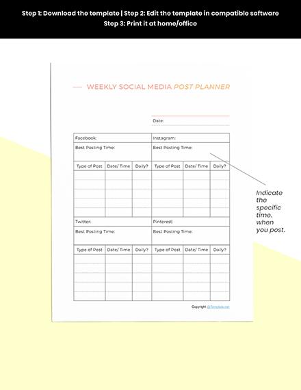 Sample Social Media Planner Template Printable