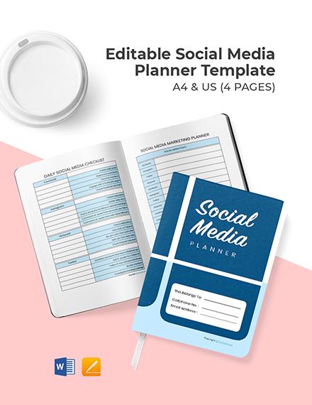 Free Editable Social Media Planner Template