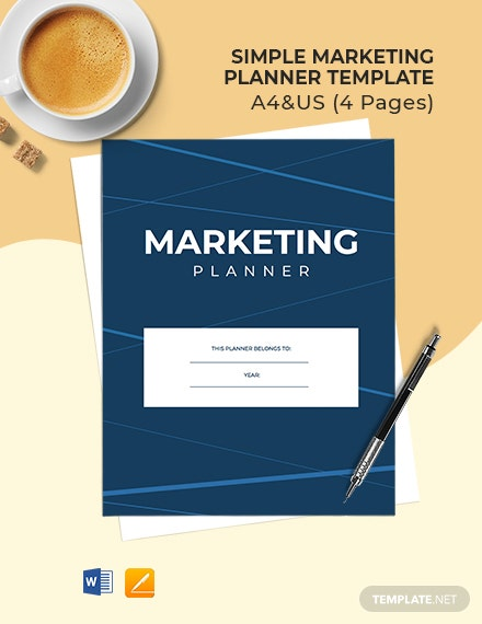 Free Simple Marketing Planner Template