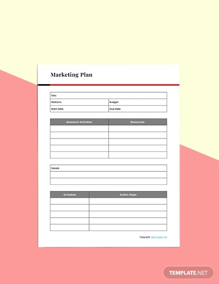 Basic Marketing planner Format