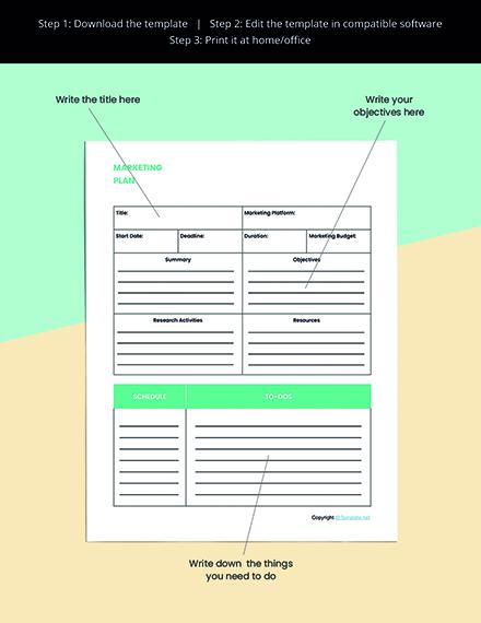 Editable Marketing Planner Template Example