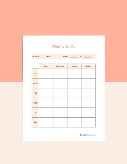 Sample Todo list planner Format