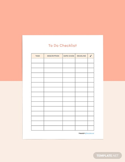 Sample Todo list planner template