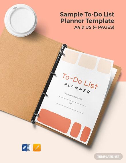 Sample To Do List Planner Template