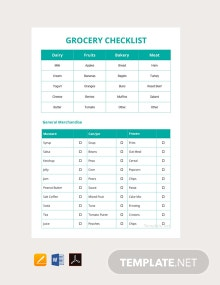 Free Grocery Checklist Template