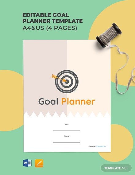 Free Editable Goal Planner Template