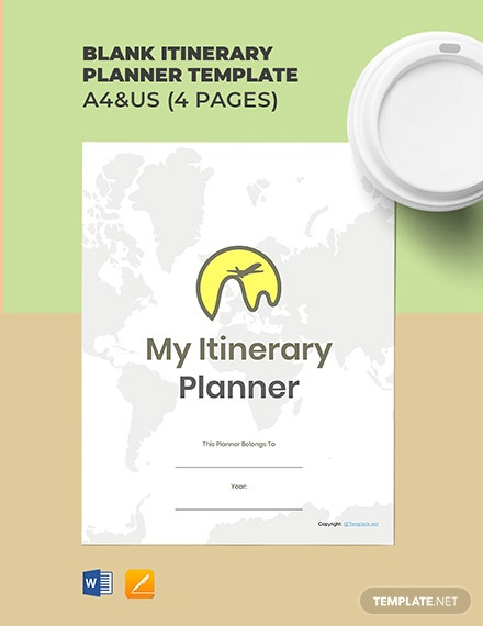 Free Blank Itinerary Planner Template