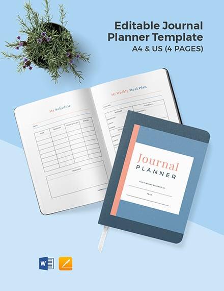Editable Journal planner