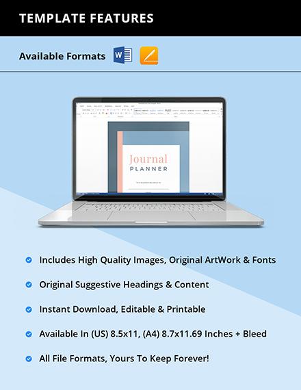 Editable Journal planner Instruction