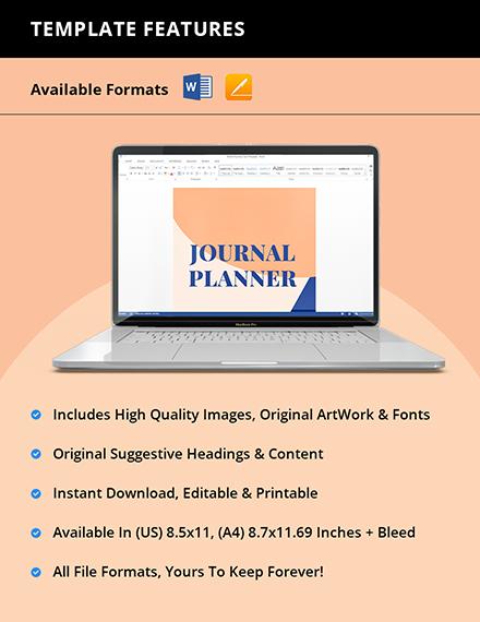 Sample Journal Planner Template Instruction