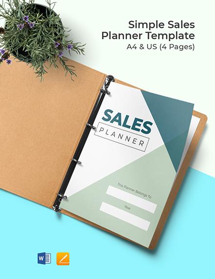 Free Simple Sales Planner Template