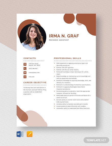 Mechanic Assistant Resume Template