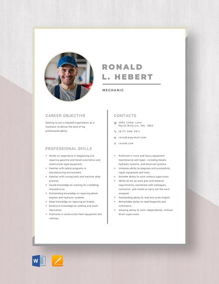 Mechanic Resume Template
