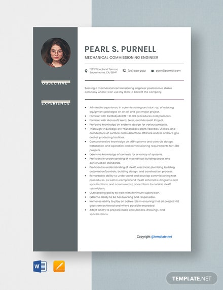 Free Mechanical Commissioning Engineer Resume Template