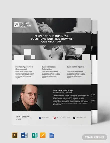 Free Business Solutions Consultant Flyer Template