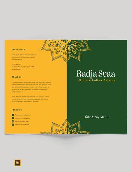 indian restaurant take out bi fold brochure template 1x
