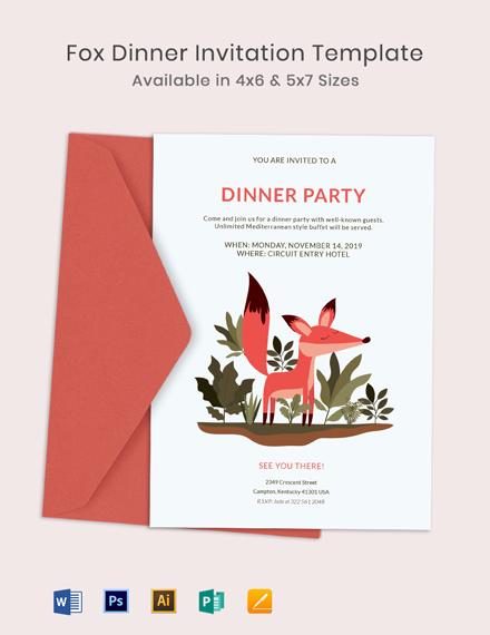 Fox Dinner Invitation Template