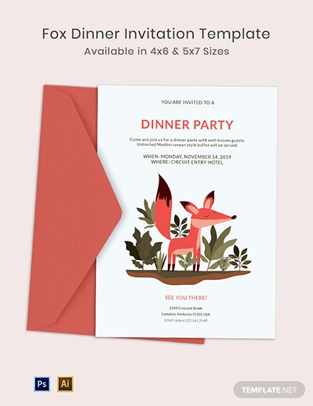 Fox Dinner Invitation Template
