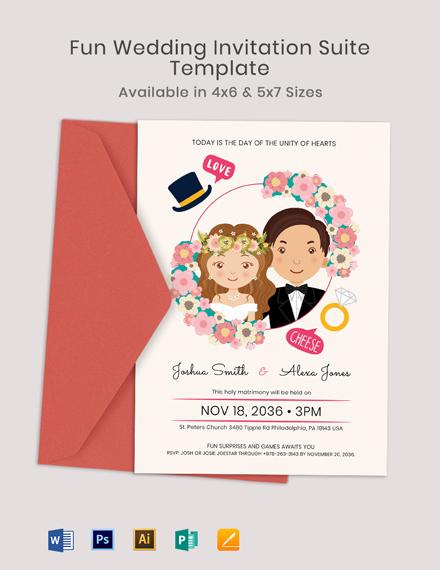 Fun Fall Wedding Invitation Suite Template