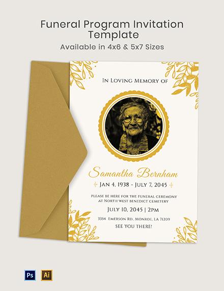 Funeral Program Invitation Template