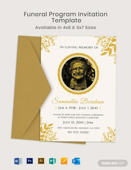 Funeral Program Invitation Template