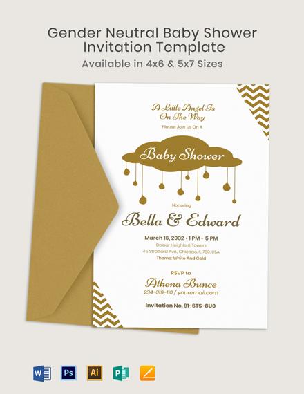 Gender Neutral Baby Shower Invitation Template