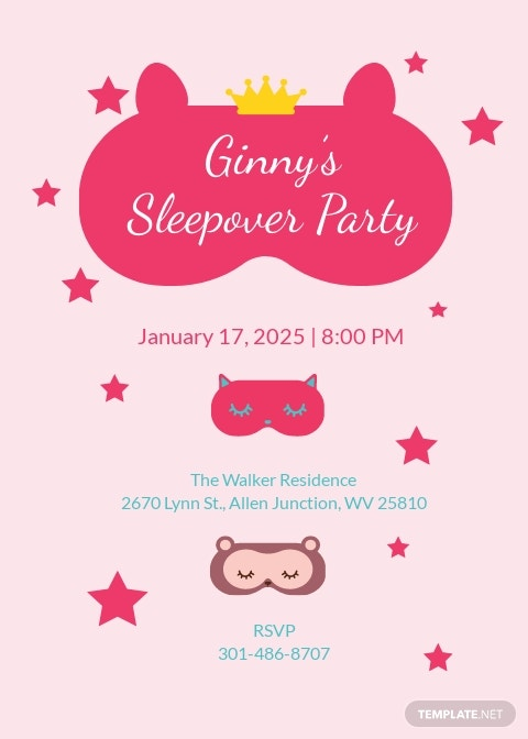 Girl Sleepover Invitation Template.jpe