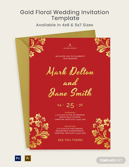 Gold Floral Wedding Invitation Template