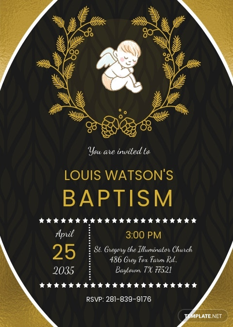 Gold Foil Baptism Invitation Template