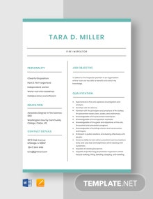 Fire Inspector Resume Template