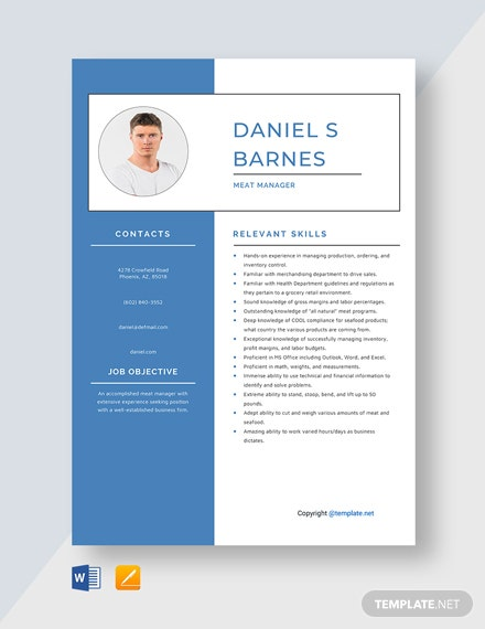 Free Meat Manager Resume Template