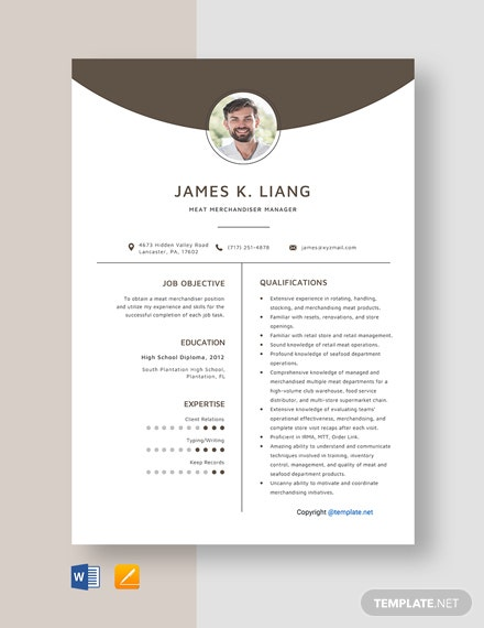 Free Meat Merchandiser Manager Resume Template