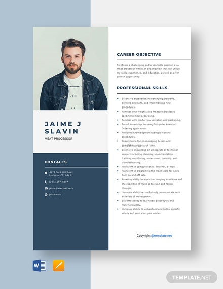 Free Meat Processor Resume Template