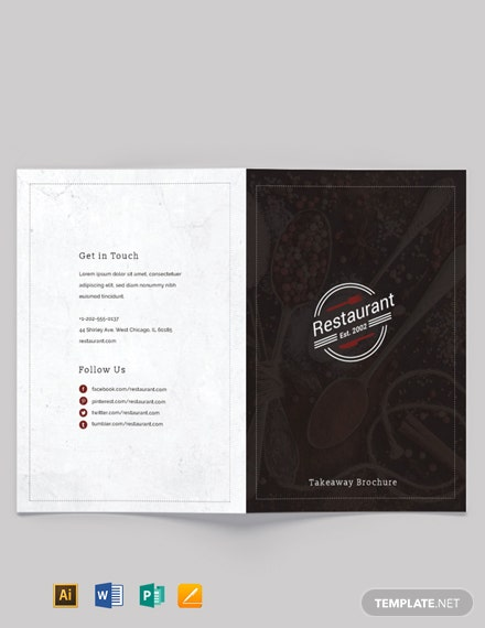 Family Restaurant Bi-Fold Brochure Template