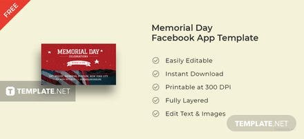 Memorial Day FaceBook App Cover Template