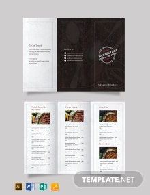 Family Restaurant Tri-Fold Brochure Template