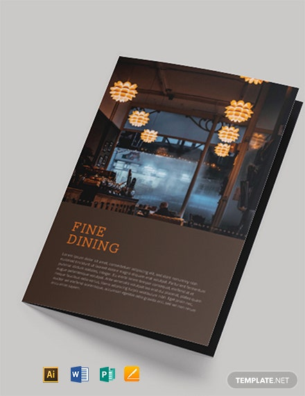 Fine Dining Restaurant Take-out Bi-Fold Brochure Template