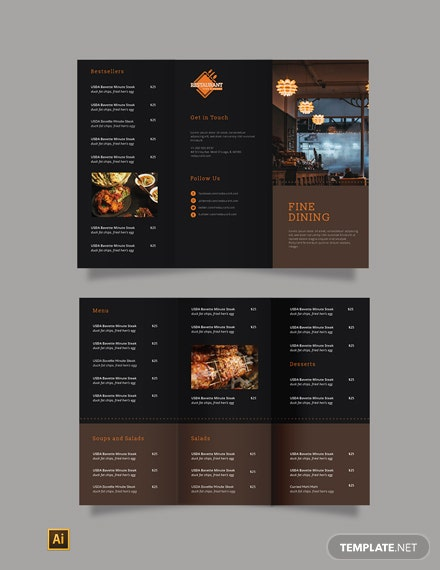 fine dining restaurant take out brochure 1x