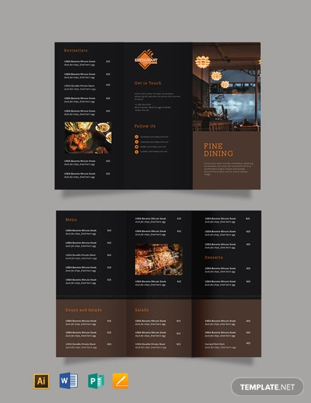Fine Dining Restaurant Take-out Tri-Fold Brochure Template