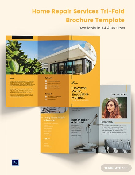 Home Repair Services Tri-Fold Brochure Template