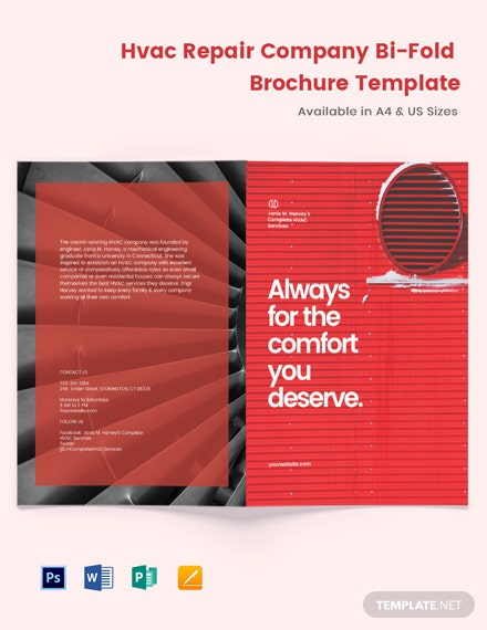 HVAC Repair Company Bi-Fold Brochure Template