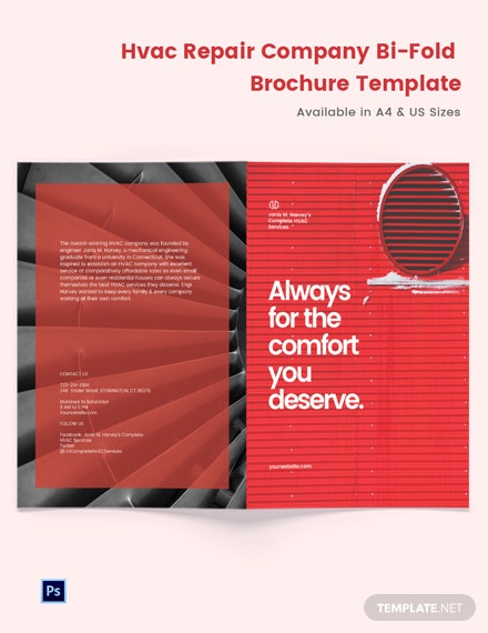 HVAC Repair Company Bi-Fold Brochure Template