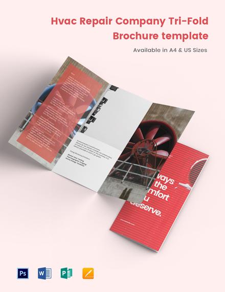 HVAC Repair Company Tri-Fold Brochure Template