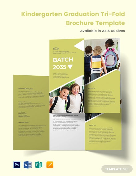 Kindergarten Graduation Tri-Fold Brochure Template