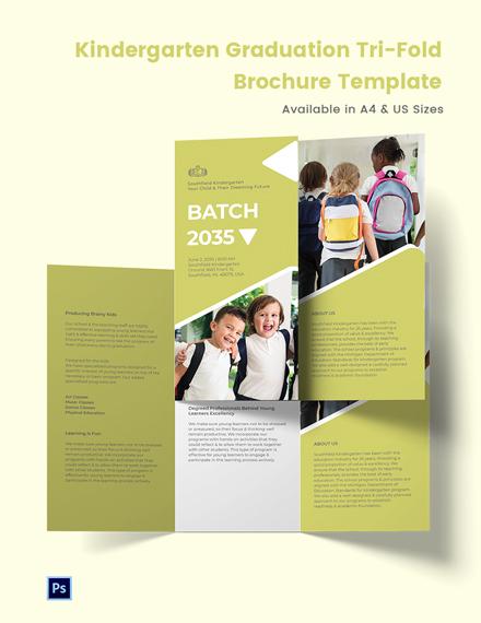 Kindergarten Graduation Tri-Fold Brochure Template