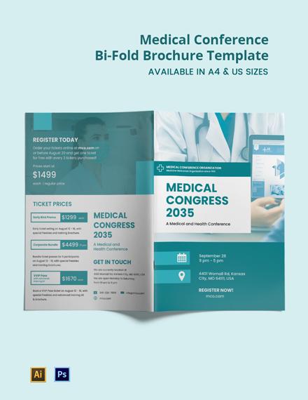 Medical Conference Bi-Fold Brochure Template