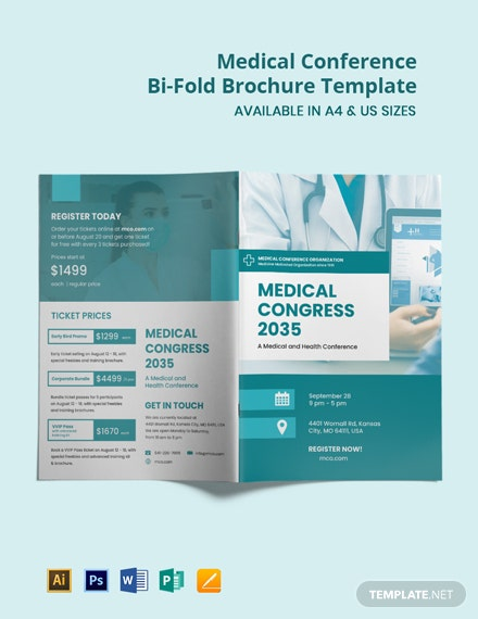 Medical Conference Bi-Fold Brochure Template