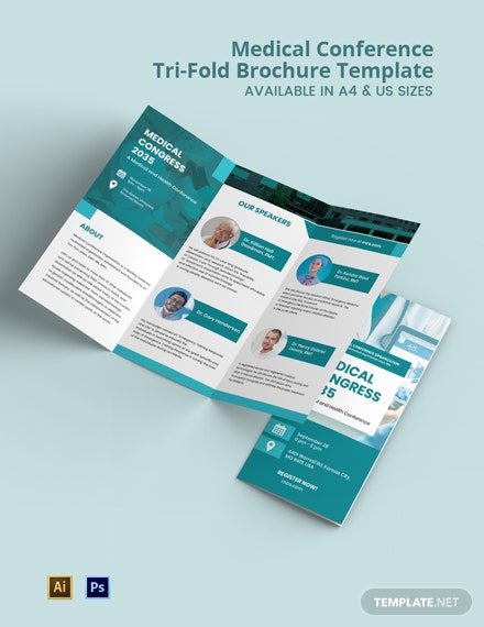 Medical Conference Tri-Fold Brochure Template